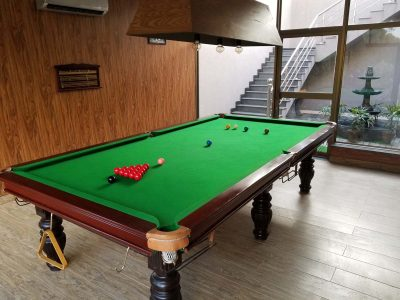 snooker table in farm house