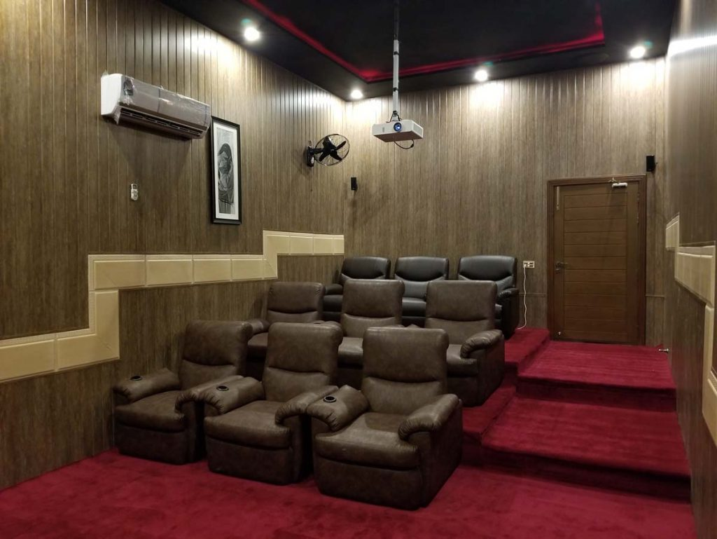 cinema seats in farm house
